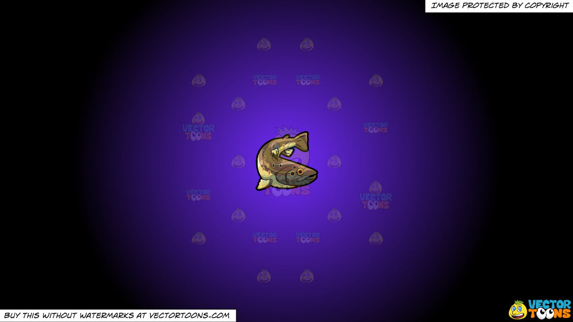 Clipart: A Brown Trout on a Purple And Black Gradient Background