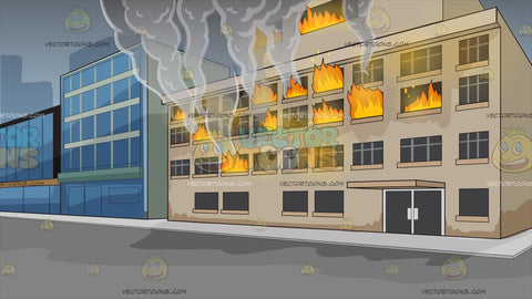 A Building On Fire Background