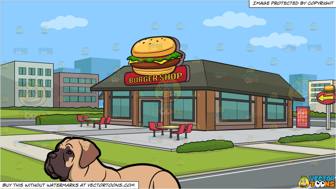 A Bull Mastiff Pet Dog Getting Some Rest and Outside A Burger Shop  Background