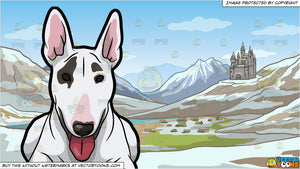 A Bull Terrier Relaxing On The Floor and A Small European Mountainside Kingdom Background