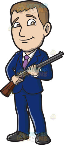 A Businessman Holding A Rifle