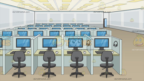 A Call Center Office Room Background