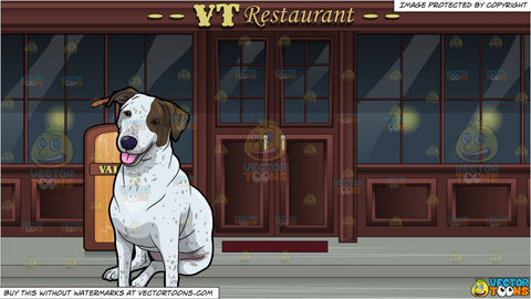 A Calm Dog Taking A Break and A Valet Stand Outside A Restaurant Background