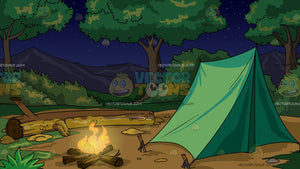 A Camp Site With Camp Fire At Night Background