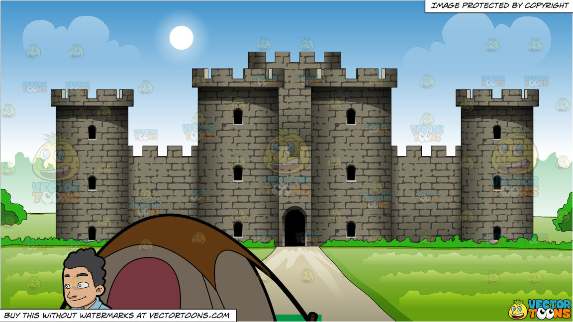 A C&er Outside His Tent and Exterior Of A Large Castle Background & A Camper Outside His Tent and Exterior Of A Large Castle Background ...
