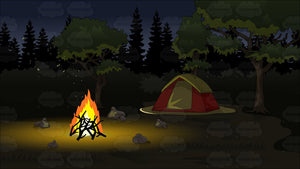 A Campground At Night Background