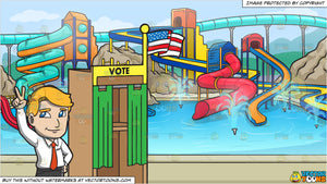 A Candidate Claiming Victory During The Election and A Cool Water Park Background