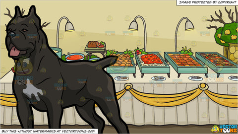 A Cane Corso Dog With A Nice Stance and A Savory Food Buffet Table Background