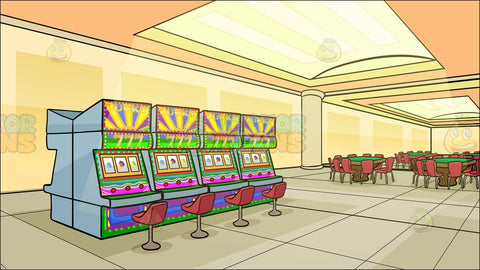 A Casino With Slot Machines And Table Games Background