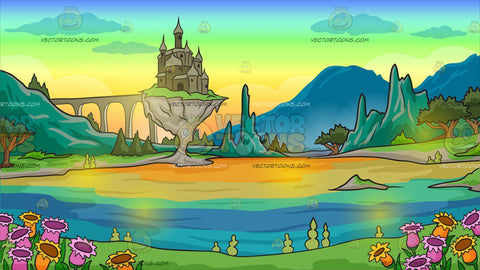 A Castle In A Magical Land Background