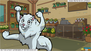 A Cat Dancing A Silly Move and Inside A Floral Store Background