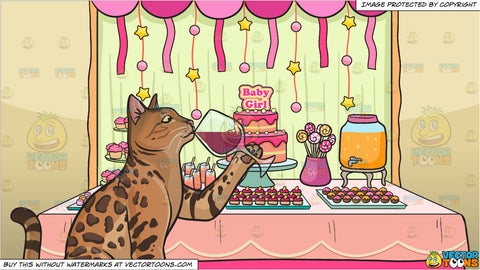 A cat drinking wine and A Baby Shower For A Girl Background
