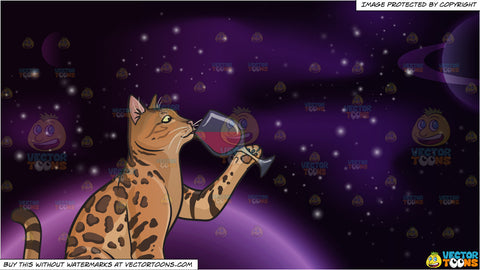 A cat drinking wine and Outer Space Background