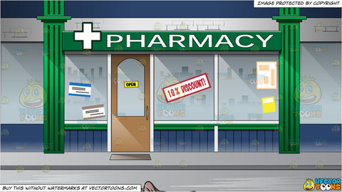 A Cat Sleeping Soundly and Facade Of A Pharmacy