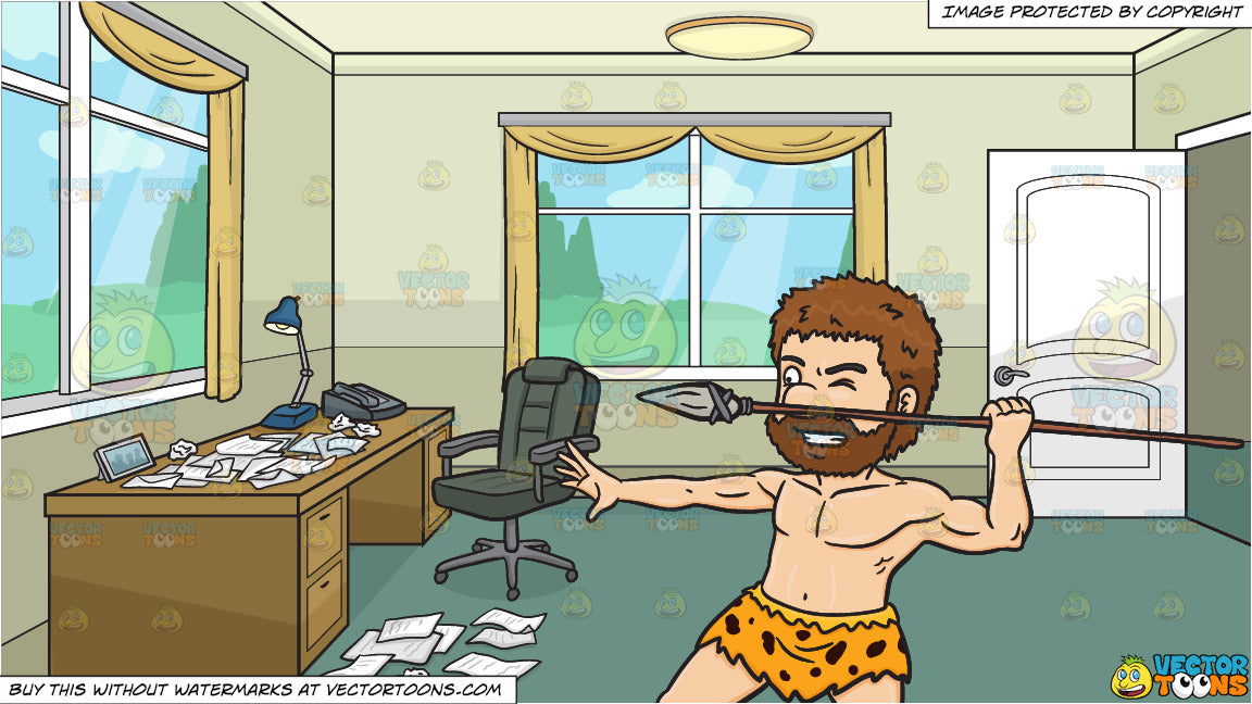 Terrific A Caveman Aggressively Holds Up A Stone Spear And A Home Office Full Of Crumpled Papers Background Home Interior And Landscaping Staixmapetitesourisinfo