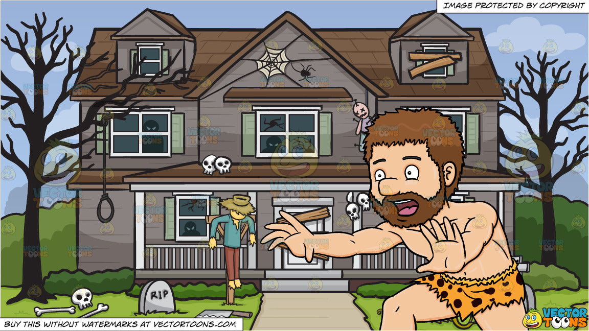 Pleasing A Caveman Running Away From Something And House Decorated For Halloween Background Home Interior And Landscaping Staixmapetitesourisinfo