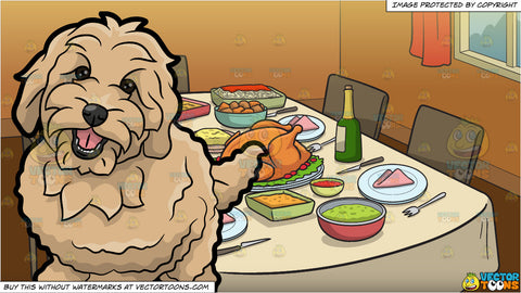 A Charming Golden Doodle Dog and A Table Set For Thanksgiving Background