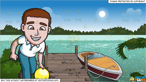 A Charming Man Enjoying A Game Of Bowling and A Boat Tied Up To A Dock Background