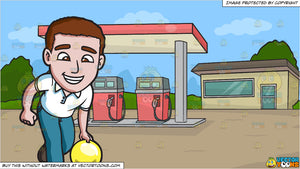A Charming Man Enjoying A Game Of Bowling and A Small Town Gasoline Station Background