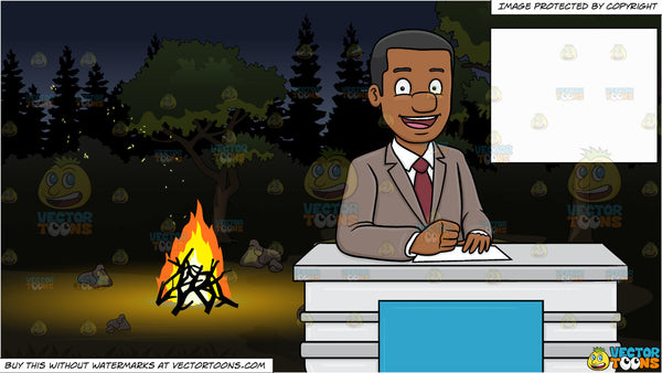 A Cheerful Black News Anchor Reporting A Happy News and A Campground At  Night Background