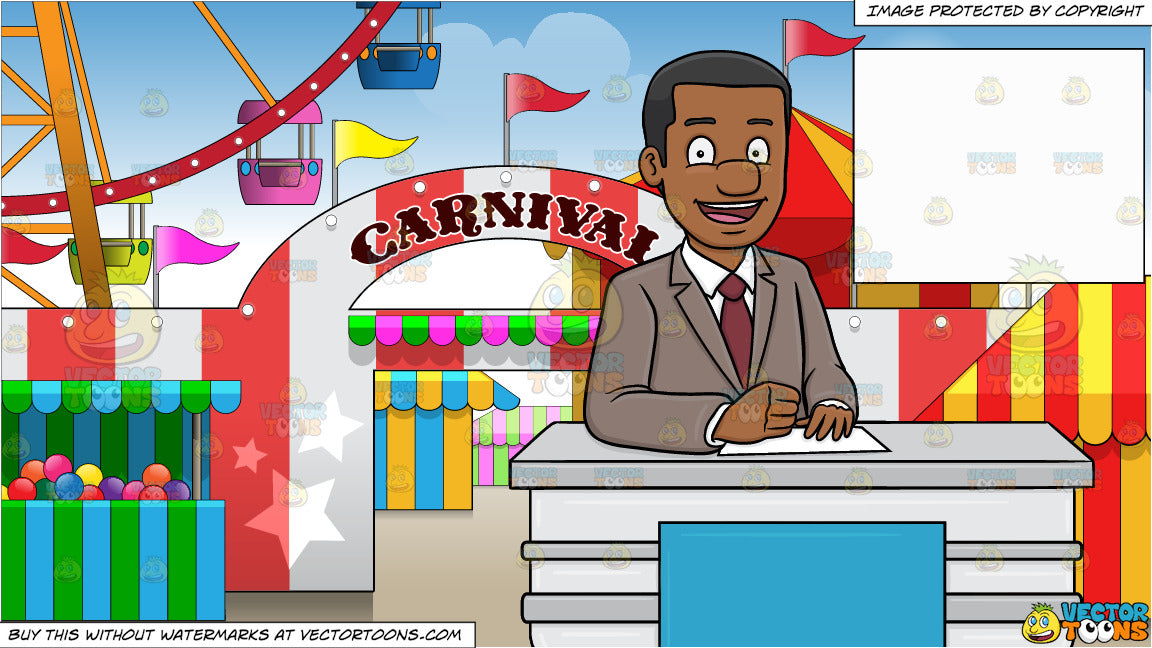 A Cheerful Black News Anchor Reporting A Happy News and Exterior Of A  Carnival Background