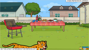 A Cheetah and A Backyard Barbecue Background