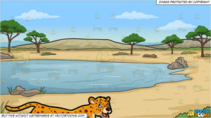 A Cheetah and A Watering Hole In The Desert Background