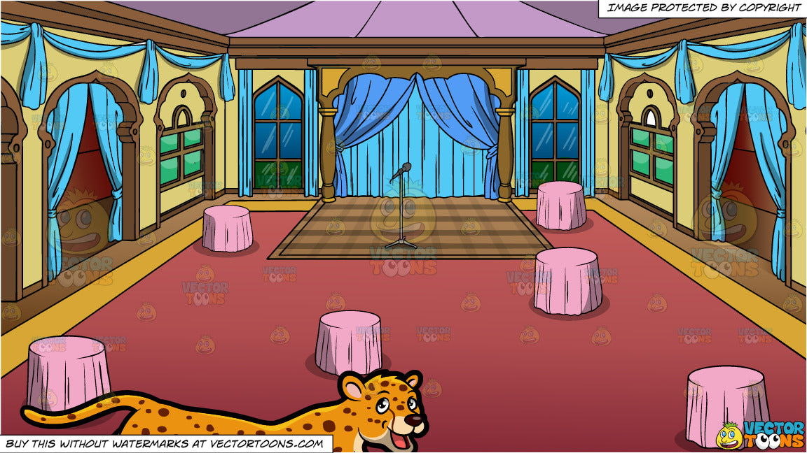 A Cheetah and An Indian Entertainment Hall Background