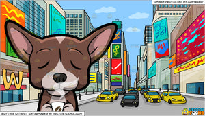 A Chihuahua Smelling The Good Scent Of Freshly Brewed Coffee and New York Times Square During The Day Background