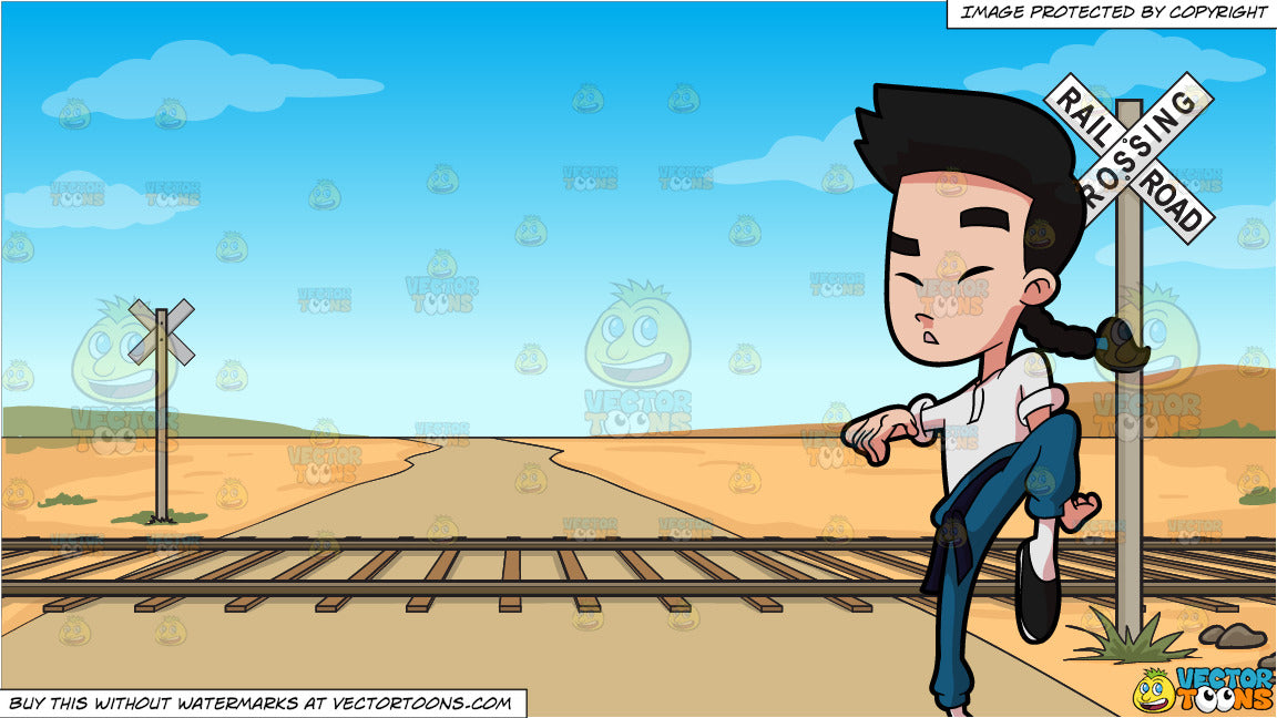 A Chinese Apprentice Concentrates On His Kung Fu Training and Railroad  Crossing Background
