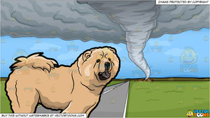 A Chow Chow Dog and A Tornado Background