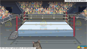 A chubby cat lying down and A Wrestling Ring Inside An Arena Background