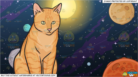 A Chubby Orange Cat and Solar System Background