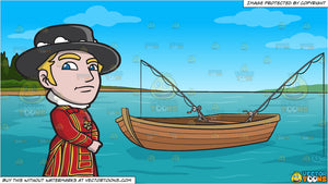 A Classy Yeoman Guard and Fishing Boat On The Lake Background
