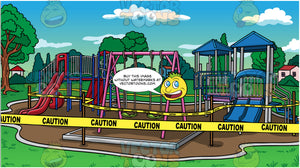 A Closed Playground Background. A kids playground in a pretty park setting with caution tape wrapped around the swings, slides, and other equipment, indicating that it is closed and not to be used