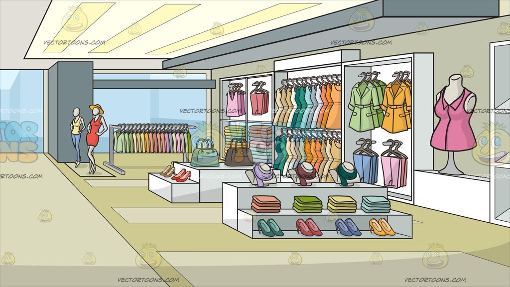 A Clothing Store For Women Background – Clipart Cartoons ...