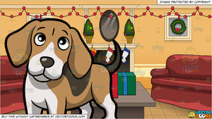 Christmas Beagle Clipart.A Clueless Beagle Standing On All Fours And A Living Room Decorated For Christmas