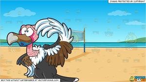 A Clueless Vulture and Beach Volleyball Background