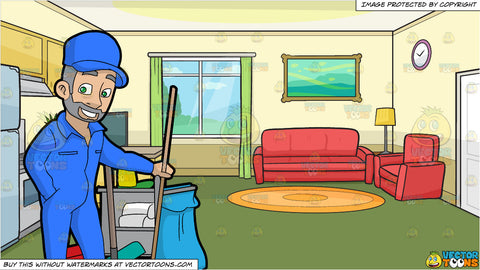A Confident Male Janitor Holding A Broom and The Kitchen And Living Room Of A Small House Background