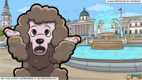 A Confused Poodle and The Trafalgar Square And The National Gallery Of London Background