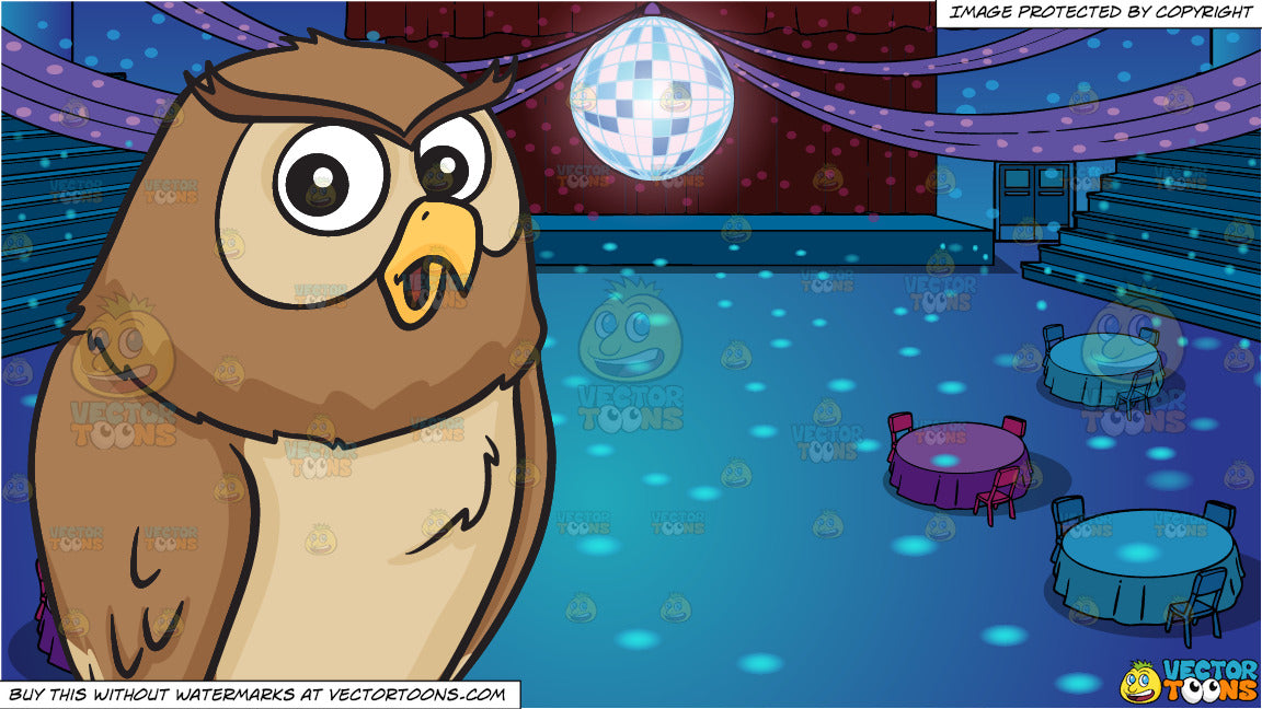 4d02f9202cd A cooing night owl and A School Gym Set Up For Prom Background ...