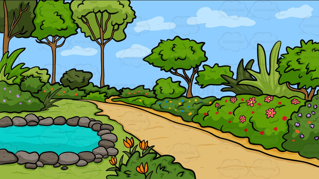 A Country Garden With Pond Background – Clipart Cartoons ...