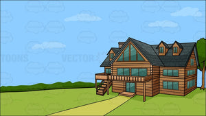 A Countryside Log House Background