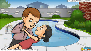A Couple Dancing Tango and Backyard Swimming Pool Background