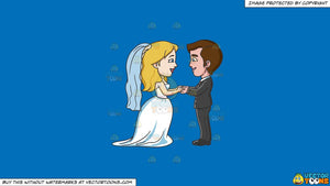 Clipart A Couple Saying Their Marriage Vows On A Solid Spanish Blue 016fb9 Background