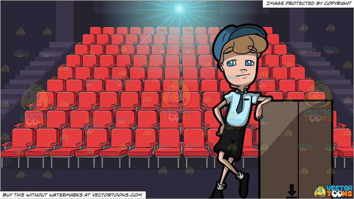 A Courier Delivery Employee Waiting Patiently And Movie Theater Seats Clipart Cartoons By Vectortoons