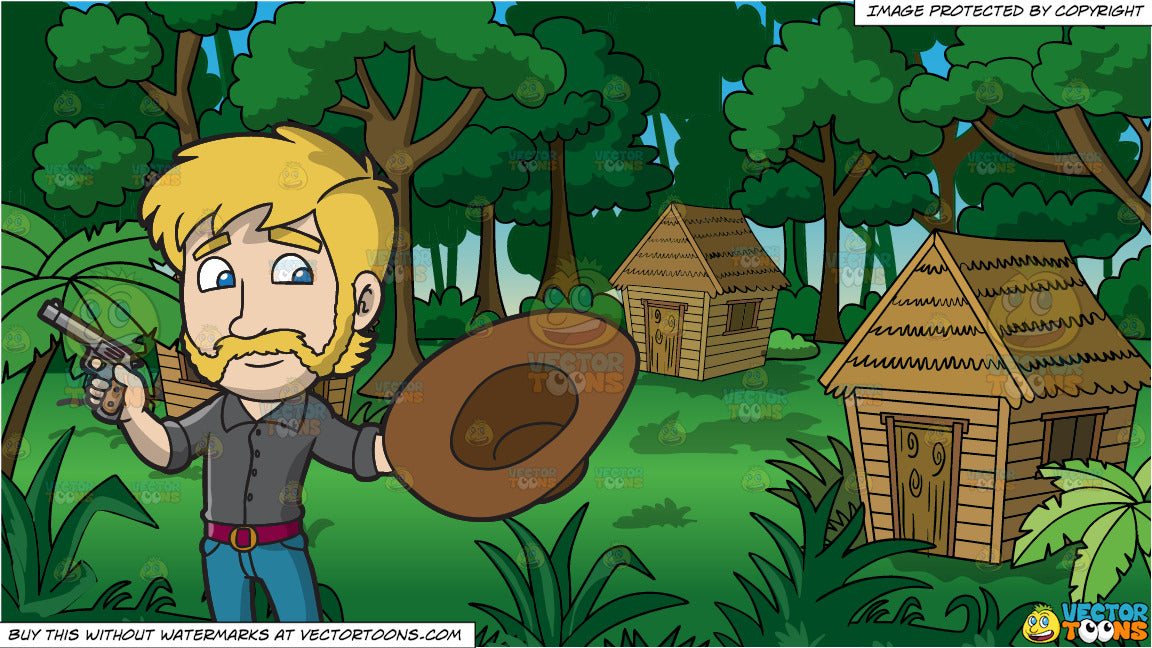 A Cowboy With His Gun and Grass Huts In A Jungle Background