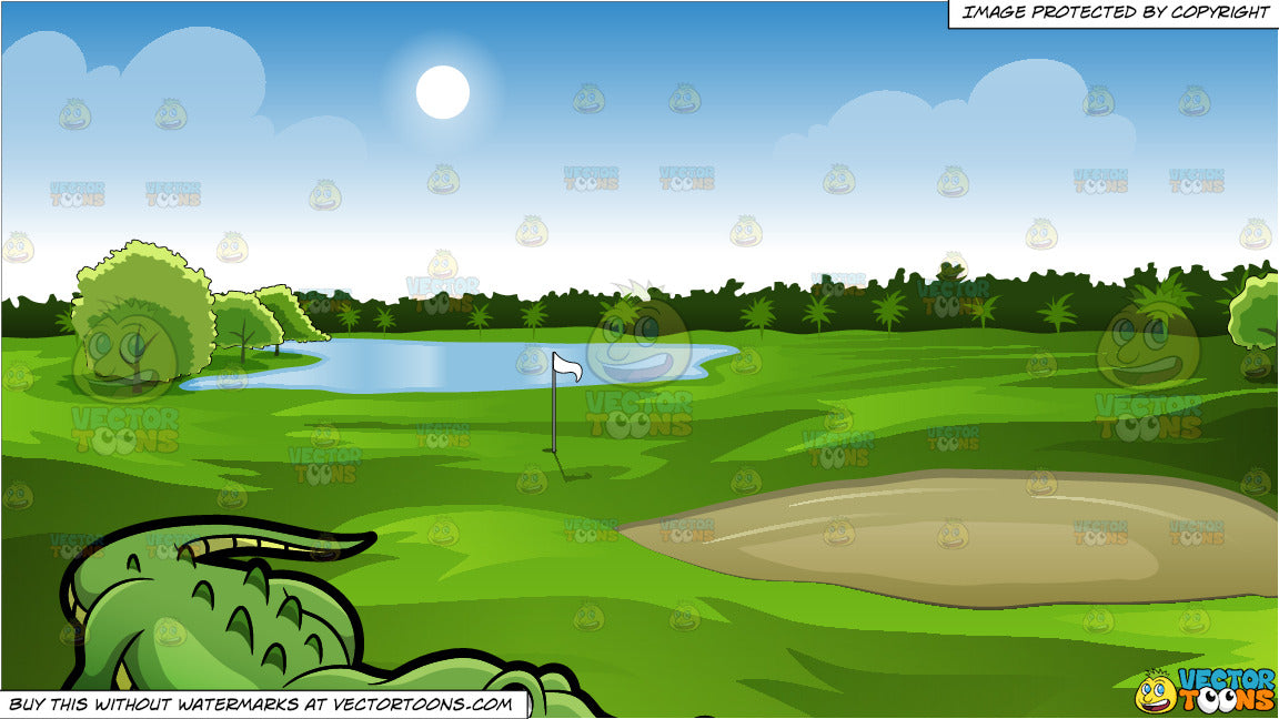 A Crocodile At The Zoo And Green Golf Course Background Clipart Cartoons By Vectortoons