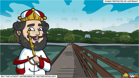 A Crowned King and Bridge Leading To An Island Background
