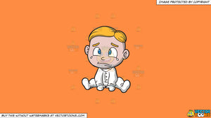 Cartoon clipart: a crying baby boy wearing a white onesie on a solid mango orange ff8c42 background